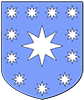 An heraldic shield: Azure, eleven mullets of eight in orle argent, a mullet of eight argent in fess.